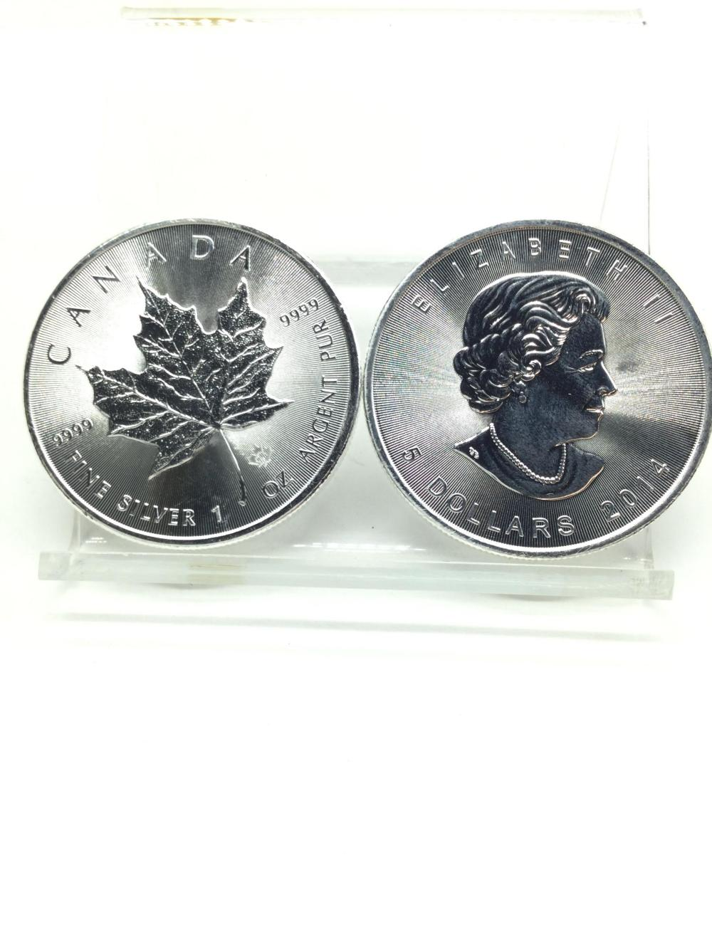 2 Canadian 1 Argent Ounce Silver Rounds