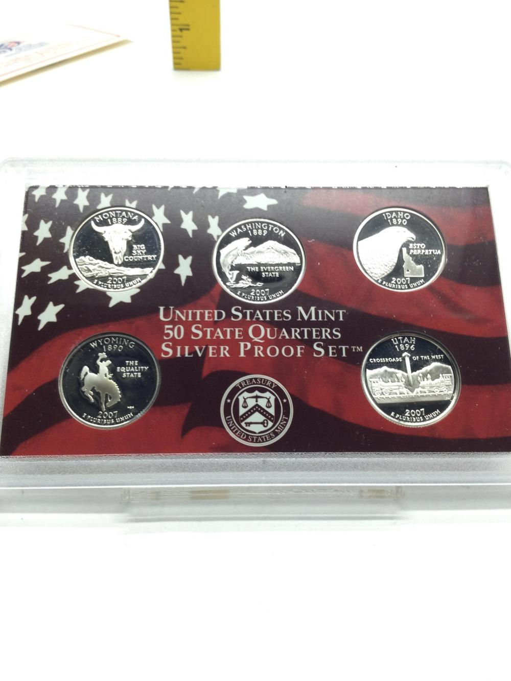 2-2007 US Mint State Quarters Silver Proof Sets