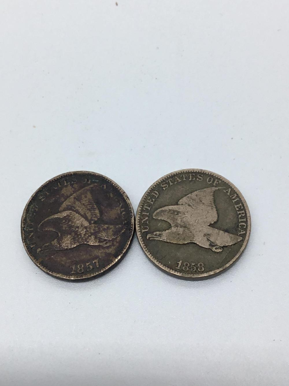 1857 and 1858 Flying eagle cents