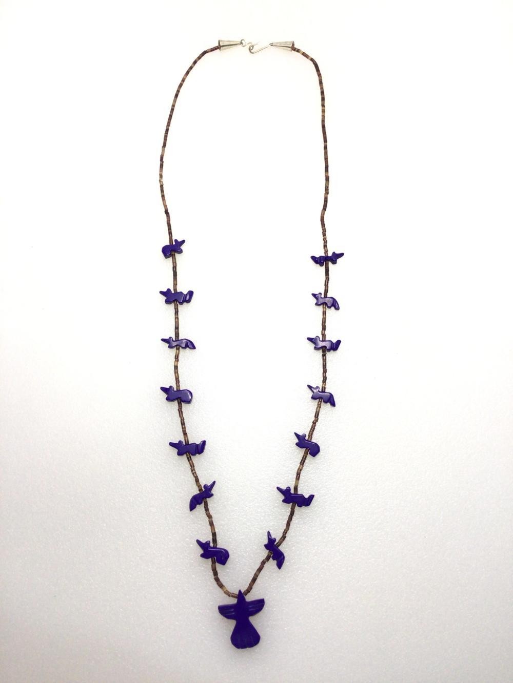 G: Handmade Blue Beaded Animal Necklace