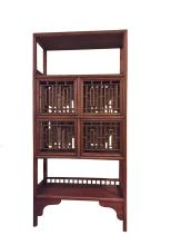 CHINESE BOOKCASE WITH LATTICE DOORS