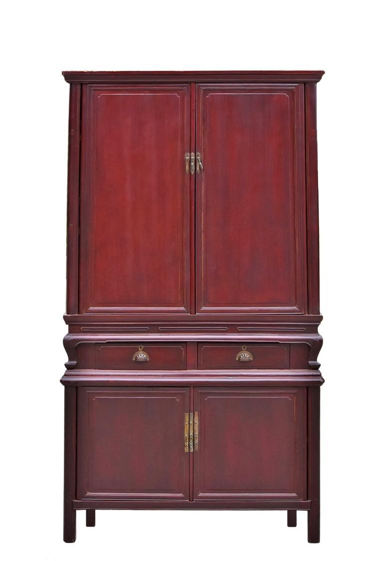 - 2-tier Plum Chinese Antique Cabinet With Secret Locks