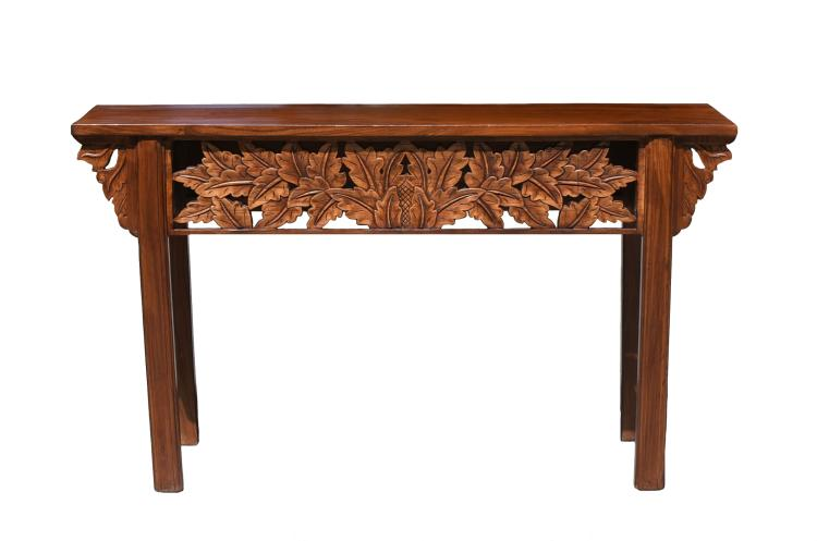 Console table with foliage carving