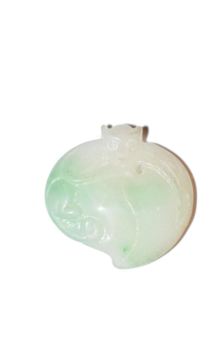 Jadeite jade pendant monkey on peach aloadofball Images