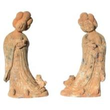 pair terracotta tang style court ladies