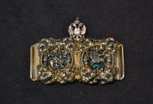 19thC RUSSIAN SILVER 2-PART BELT BUCKLE WITH