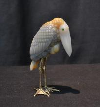 RUSSIAN SILVER & AGATE PELICAN WITH EMERALD GOLD