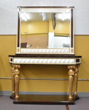 LARGE MULTI TONE LAMINATED WOOD CONSOLE & MIRROR