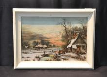 HAND PAINTED PORCELAIN PLAQUE OF CABIN