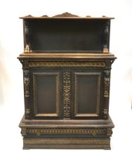 2-DOOR FIGURAL CABINET WITH CARVED LIONS