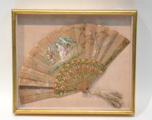 HAND PAINTED FAN WITH GROUPING SCENE