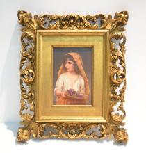 GERMAN PORCELAIN PLAQUE OF YOUNG GIRL