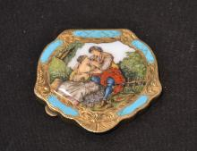 800 SILVER & ENAMEL COMPACT BOX WITH