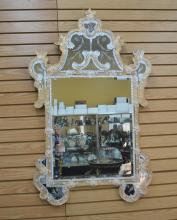 ETCHED VENETIAN MIRROR WITH ROSETTES