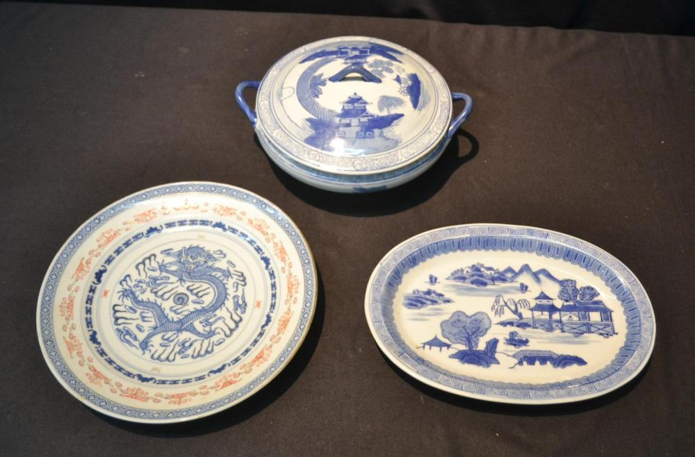(2) EARLY 20thC BLUE u0026 WHITE PLATES / & 2) EARLY 20thC BLUE u0026 WHITE PLATES /