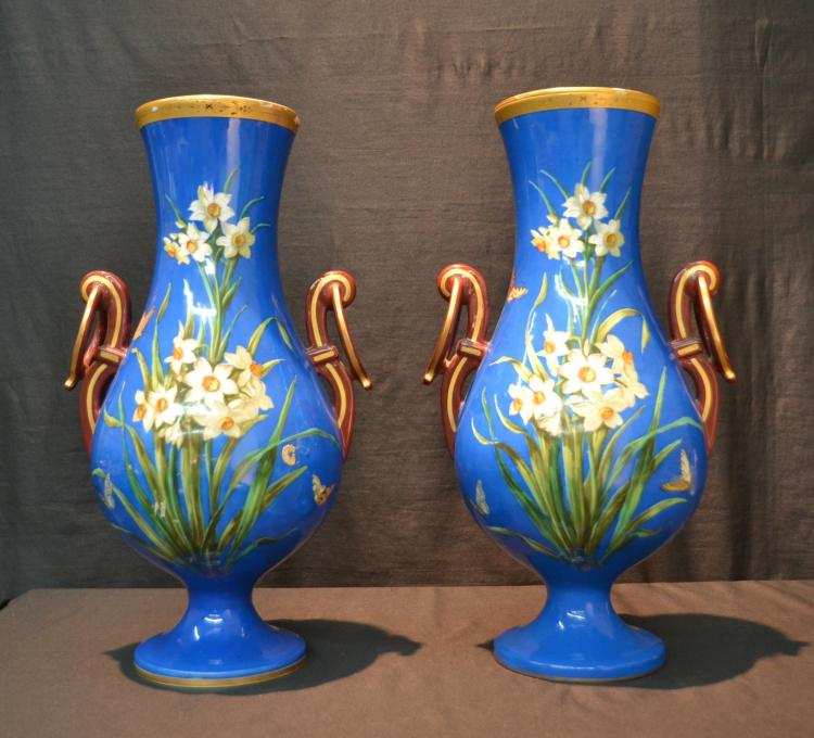 (Pr) BLUE GROUND OLD PARIS VASES WITH