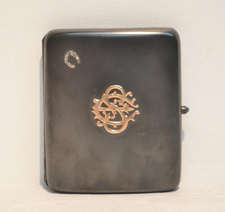 RUSSIAN GUN METAL CIGARETTE CASE WITH OVERLAY