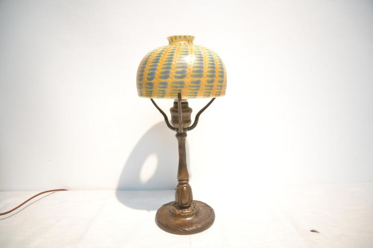 TIFFANY STUDIOS BRONZE BOUDOIR LAMP WITH