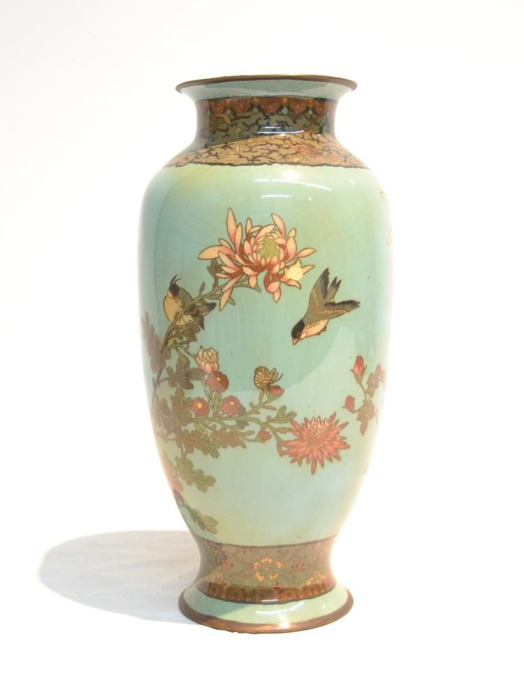 Cloisonne Vase With Flowers Birds Butterflies