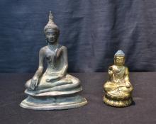 (2) ASIAN BRONZE SEATED BUDDHA