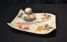 FRENCH FAIENCE STYLE INKWELL WITH