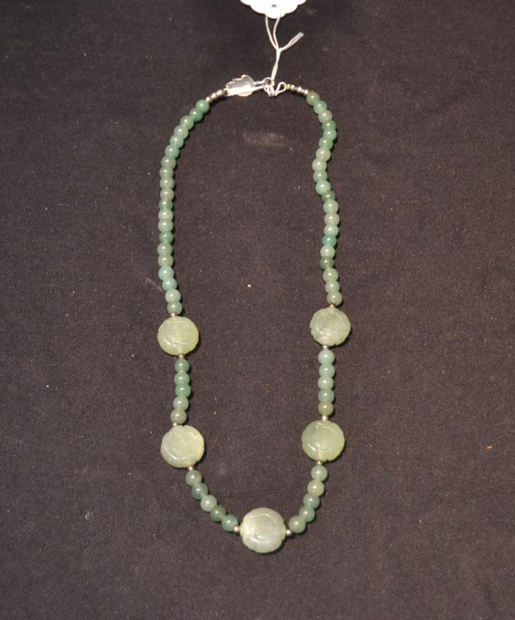 jade bead necklace with 5 crved