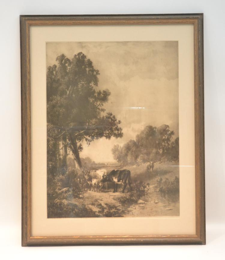 FRAMED COWS IN LANDSCAPE LITHOGRAPH ; ENGRAVED