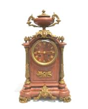 19thC FRENCH ROUGE MARBLE MANTLE CLOCK WITH
