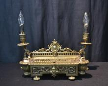 LXV STYLE BRONZE INKWELL WITH CANDLE STICK