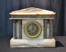 FRENCH ONYX & BRONZE BUILDING FORM MANTLE CLOCK