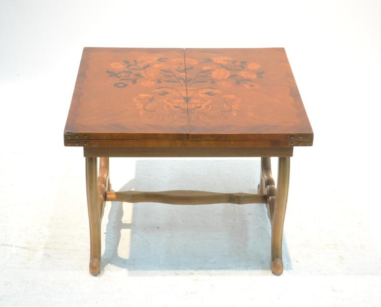 Floral marquetry inlaid fold out coffee table for Fold out coffee table
