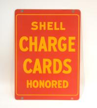 ENAMEL PORCELAIN DOUBLE SIDED SHELL GAS SIGN