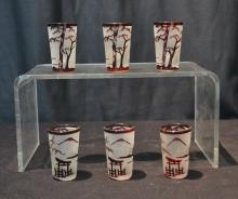 (6) RUBY & FROSTED GLASS BOHEMIAN SHOT GLASSES