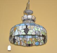 LEADED GLASS FIXTURE WITH RAISED FRUIT