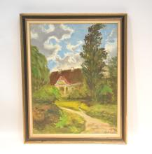OIL ON CANVAS HOUSE IN FOREST LANDSCAPE