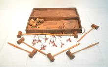 ANTIQUE MINIATURE WOOD CROQUET SET