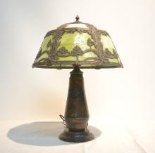 16-PANEL CARMEL & GREEN SLAG GLASS LAMP