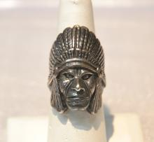 STERLING SILVER NATIVE AMERICAN HEAD RING