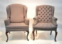 (2) HILLCREST TUFTED UPHOLSTERY WING CHAIRS