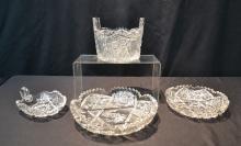 (4) AMERICAN BRILLIANT CUT GLASS BOWLS & BUCKET