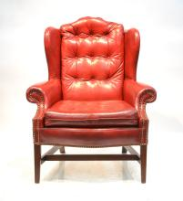 DARK RED LEATHER WING CHAIR WITH
