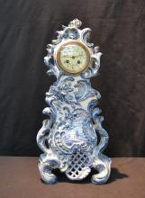BAROQUE STYLE DUTCH DELFT MANTLE CLOCK