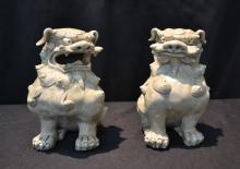 (Pr) BLANC de CHINE PORCELAIN FOO DOGS