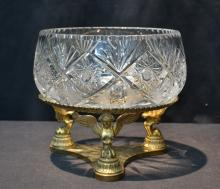 FRENCH EMPIRE BRONZE & CRYSTAL CENTERPIECE