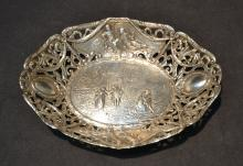 RETICULATED SILVER FIGURAL EMBOSSED BOWL