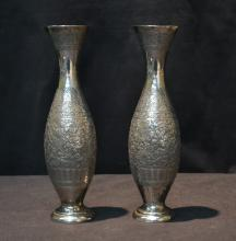 (Pr) ENGRAVED PERSIAN SILVER VASES WITH