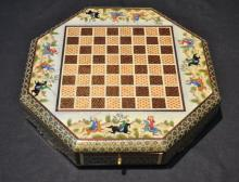 OCTAGONAL PERSIAN CHESS BOX WITH FIGURAL SCENES