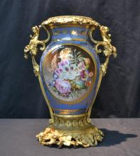 LARGE HAND PAINTED OLD PARIS VASE WITH