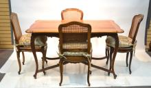 COUNTRY FRENCH WALNUT DINING TABLE WITH