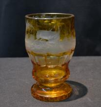 AMBER ETCHED BOHEMIAN GLASS VASE WITH